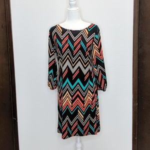 Enfocus Studio Chevron Print Dress Open Sleeve